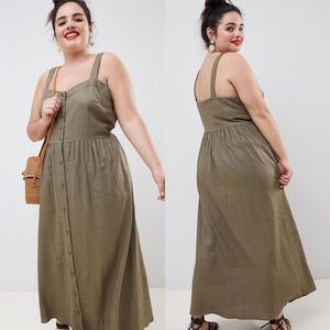 ASOS Curve | Olive Linen Button Front Maxi Dress